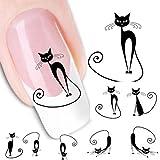 SROVFIDY Maniküreaufkleber mit Katzenmotiv zur Verzierung des Nagels A