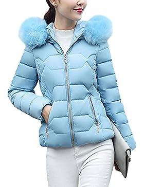Abrigo de Invierno Cremallera Acolchado con Capucha de manga larga Sombrero grande para mujer Azul L