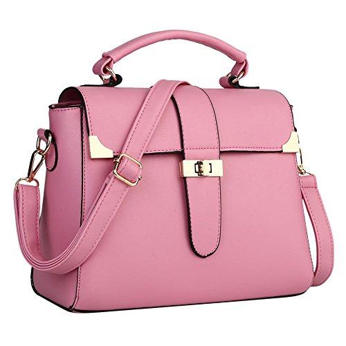 LaoZan Pu Leder Henkeltasche Schultertasche Messenger Bag Damen Handtaschen Beige Pink