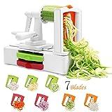 Corafei Spiralschneider Gemüse Spaghetti Spiral für Karotte/Gurken/Kartoffeln/Zucchini Nudeln, mit Auswechselbarer 7 Klingen