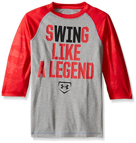 Under Armour Jungen 'Swing wie ein Legend 3/4 T-Shirt, Jungen, True Gray Heather (026) - Under Armour Graphic T-shirt Baseball