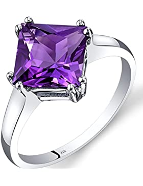 Revoni 14ct White Gold Amethyst Solitaire Ring 2.00 Carat Princess Cut