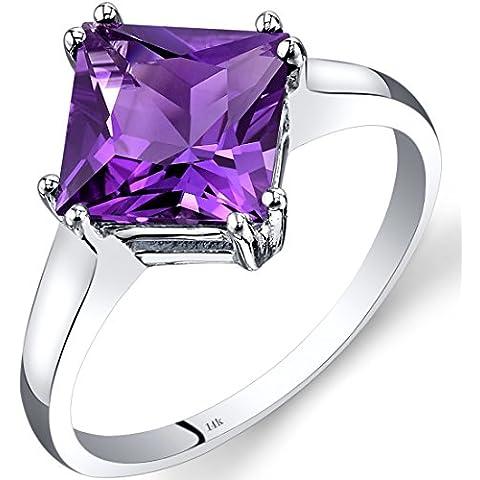 Revoni-Catenina con pendente, con ametista, oro bianco 14 k con solitario, taglio Princess, 2,00 ct - Ametista Promise Ring