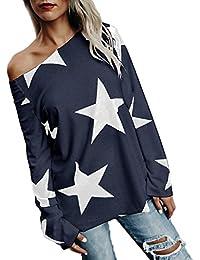 Ninimour Women Star Print Skew Neck Casual Top And Shirt