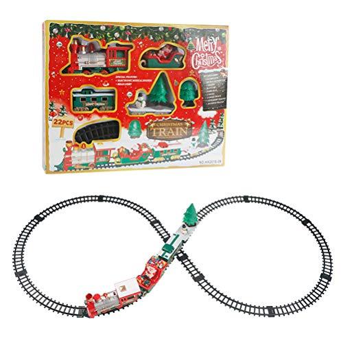 Neborn 20pcs noël Train électrique Wagon Train Jouet électrique Jouet pour Enfants Train de Chemin de Fer Ensemble Racing Road Transport bâtiment Jouet