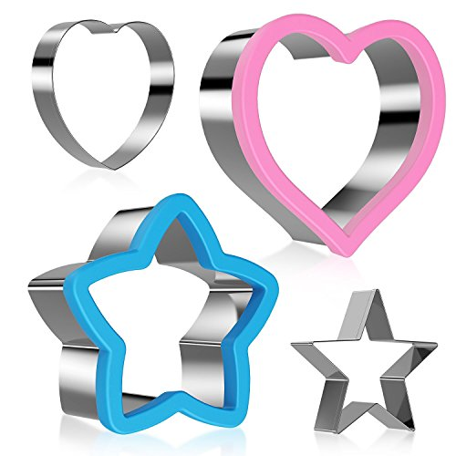 Ertek 4Pcs Kitchen Craft Star Cutter Heart Shaped Pastry Cutters Stainless Steel Shape Cutters Cookie Sandwich Mold Set Biscuit Baking Stamp Mould Cake Decorating
