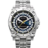 Bulova Precisionist Men's UHF Watch with Black Dial Analogue Display and Silver Stainless Steel Bracelet 96B131