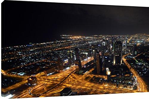 MOOL Hundebett, rechteckig, 32 x 22 cm großes Dubai bei Nacht, auf Holzrahmen gespannt, wasserfester Giclée-Überzug, fertig zum Aufhängen, Kunstdruck auf Leinwand, Mehrfarbig (Holzrahmen Hundebett)