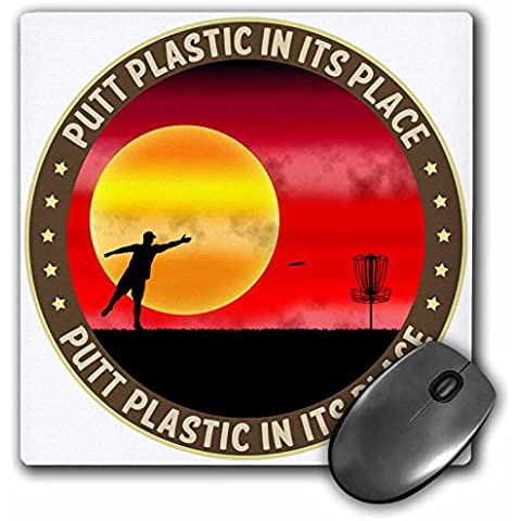 Perkins Designs Disc Golf - Putt Plastic In Its Place 9 silhouette of frisbee disc golfer putting at sunset - MousePad (mp_21105_1)