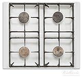 Wallario Herdabdeckplatte / Spitzschutz aus Glas, 1-teilig, 60x52cm, für Ceran- und Induktionsherde, Alter Gasherd, ungeputzt und dreckig