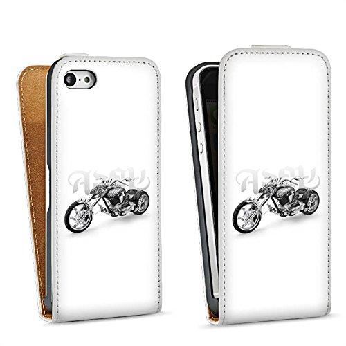 Apple iPhone 5s Housse étui coque protection Moto Sac Downflip blanc