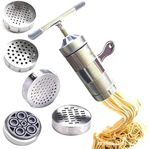 kgjsdf Nudelmaschine aus Edelstahl, manuelle Nudelmaschine mit 5 Nudelformen, Nudelpressmaschine für Spaghetti, Fettuccine, Lasagne, Tagliatelle -