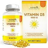 Vitamin D3 1000IU von Nutravita, 365 Softgel-Kapseln (Jahresversorgung) – Vitamin D stärkt die Knochen, Zähne und das Immunsystem – keine künstlichen Zusatzstoffe – Hohe Stärke 1000IU