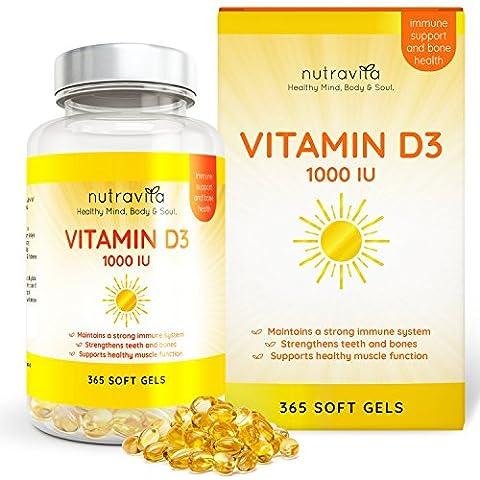 Vitamin D3 1000IU von Nutravita, 365 Softgel-Kapseln (Jahresversorgung) – Vitamin D stärkt die Knochen, Zähne und das Immunsystem – keine künstlichen Zusatzstoffe – Hohe Stärke (D & G Masculine For Men Eau De Toilette)