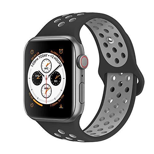 VIKATech Ersatz Armbänder für Apple Watch Armband 44mm 42mm, Soft Silikon Ersatz Armbänder für iWatch Armband Series 4/3/2/1, M/L, Schwarz/Kühles Grau