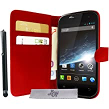 Etui Housse Luxe Stand Portefeuille Rouge Wiko Cink Slim 2 + STYLET et 3 FILM OFFERT
