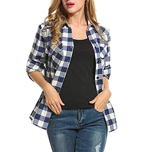 Kobay Camicie in Flanella a Quadri Scozzesi da Donna Camicetta arrotolata  con Maniche Corte(Blu ca4af0db9fe