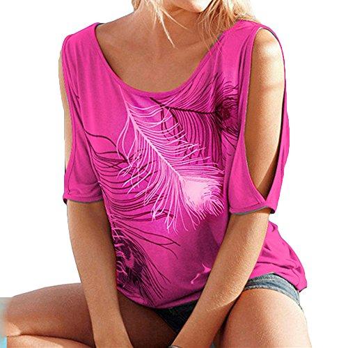 Juleya Plus Size Shirt Damen Hemd Kurzarm Frauen Blusen Casual Sling T-Shirt Blumendrucken Oberteil Lose Tops Arbeit Lässig (80er Jahre Bluse)