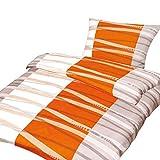 4-tlg. Microfaser Bettwäsche Sema orange/weiss mit Reißverschluss 2x 135x200 Bettbezug + 2x 80x80 Kissenbezug, Öko-Tex Standart 100