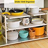 OBOR Organizador extensible para debajo del fregadero - 2 niveles multifuncional de almacenamiento con estantes extraíbles y tubos de acero para cocina, baño y jardín
