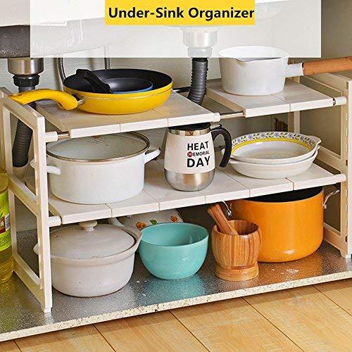Obor organizer sottolavabo-2ripiani rack di stoccaggio multifunzionale con ripiani rimovibili e tubi in acciaio per cucina, bagno e giardino