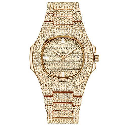 Hip-Hop-Herren Bling Bing Uhr Iced Out Diamond Watch mit Armband Silber vergoldet Metallband Riemen Rapper Armbanduhren für Männer