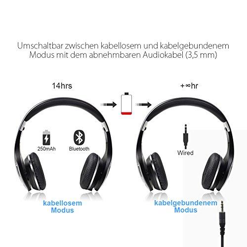 Kingyou Bluetooth Kopfhörer Funk Für Fernseher On Ear Kopfhoerer Kabellos (HD007 Schwarz) - 5