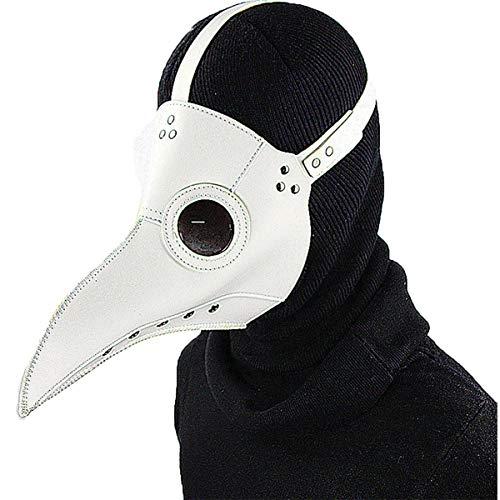 XWQXX Party Geschichte Pest Doktor Vogel Maske Latex Steampunk Halloween Cosplay Kostüm Lange Nase Schnabel Party Dekoration Requisiten,White-OneSize