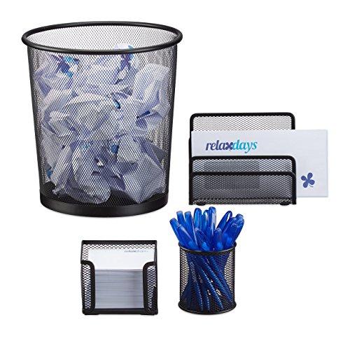 Relaxdays Schreibtisch Organizer 4er Set Metall, Schreibtisch-Set, Ablage, Zettelbox, Stifteköcher, Mülleimer, schwarz -
