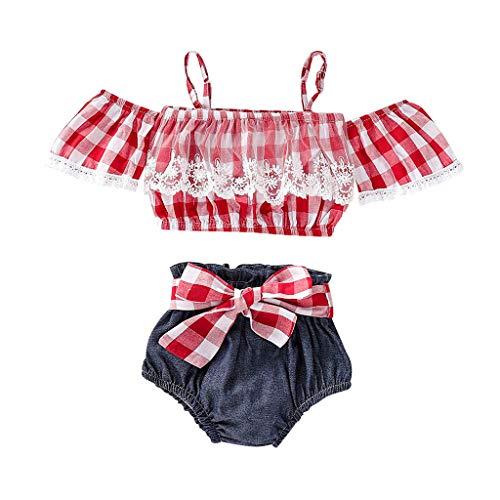 Clacce Kleinkind Baby Mädchen Sommer Plaid Rock Shirt Tops + Denim Shorts Kleidung Set -