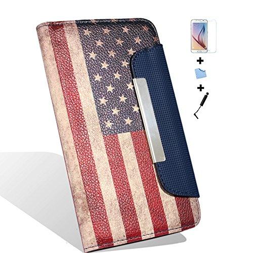 Aeontop 4 en 1 US FLAG Pattern Custodia per Samsung Galaxy S6 Edge SM-G9250 Elegante borsa in pelle Custodia Case Cover Protezione chiusura ventosa, Pellicola di Protezione e dello stilo Incluse , Retro American
