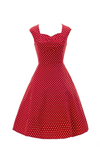 ILover candy couleur cru balancer rockabilly cercle complet 50s robe cocktail en soirée RedDots