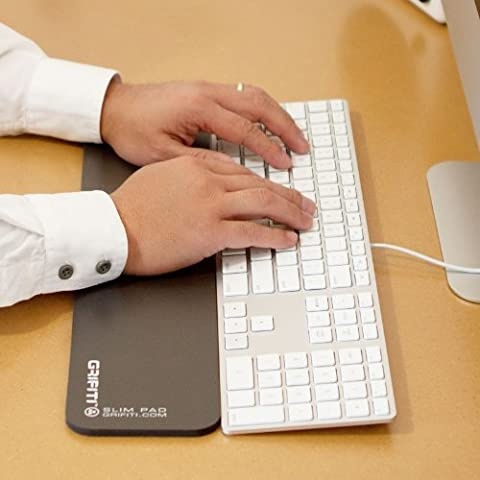 Grifiti Slim Wrist Pad 17 Neoprene Smooth Surface (no nylon) and Non-Skid Base Wrist Rest for Apple? Mac Mini Wireless Keyboard and Magic TrackPad and iMac? Wired USB Keyboard, Anker, Rupoo, IOGear, Macally, Logitech, GMYLE, Gear Head, Genius, SIIG, Azio, Amazon Basics, Solidtek, Perixx, Verbatim, HP and other Thin Standard Keyboards