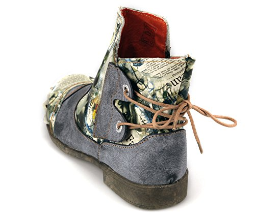 TMA Damen Stiefeletten Boots Echtleder Damenstiefel 5116 Schwarz/Grau