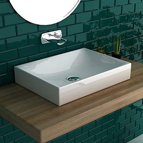 bad1a Keramik Aufsatzbecken Waschschale Handwaschbecken Gäste-WC Waschtisch Weiß Keramik ohne Überlauf | als Aufsatzwaschbecken geeignet, Badezimmermöbel | Eckig Italienisches Design