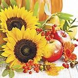 20 Servietten Schöne Herbsterzeugnisse/Herbst/Sonnenblume/Natur 33x33cm