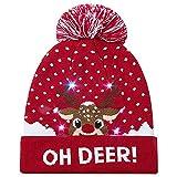 Amphia Weihnachtsmütze - Beleuchtete Bunte Lichter Weihnachtshüte LED Festliche Hüte Fiberoptik-Lichtkappen - LED Leuchten Beanie Mütze Strickmütze für Männer Frauen Jungen Mädchen Wintermütze