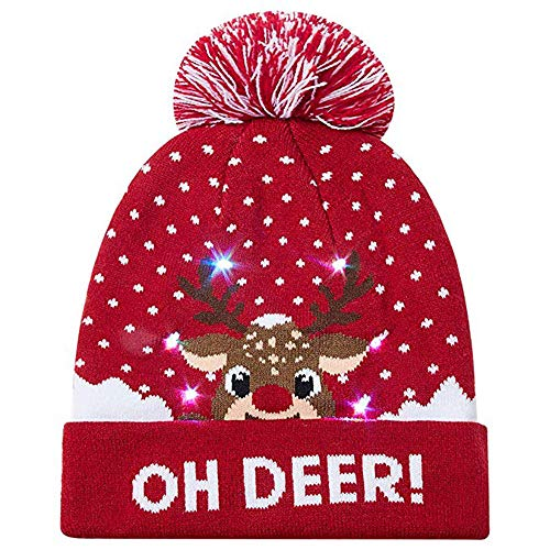 Weihnachtsmütze Sannysis Unisex LED Light-up Gestrickter Mütze Ugly Santa Xmas Costume Beanie Christmas Schneeflocke Schneemann Strickmützen (Kappenbreite 56-58 cm, A1) (Light Up Hat Santa)