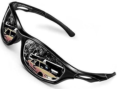 SIPLION Homme Sport Lunettes De Soleil Protection UV400 Polarisé TR90 Super léger Cadre 503 BLACK