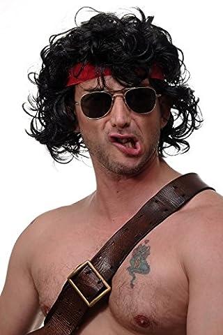 WIG ME UP ® - 3089-1 Perücke Karneval Fasching Herrenperücke 80er Jahre Proll Tanzlehrer Söldner Schwarz Locken rotes Stirnband