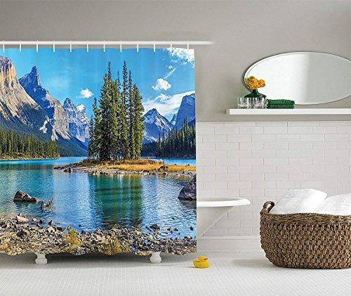 OuopBgbkkjn Lakehouse Decor Collection Landschaft von Spirit Island am Maligne Lake Canada im Sommer mit Bergen Bild Polyester Bad Duschvorhang 180CM Extra Long Green -