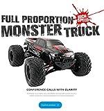 Voiture télécommandée, RC 1:12 Voiture Camion Buggy Challenger Radio télécommande 2.4G Monstre 42 km/h pour Enfants Adulte Extérieur - Rouge