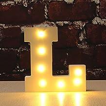 LEDMOMO luces decorativas led letras diseño de alfabeto de madera blanco letras - L