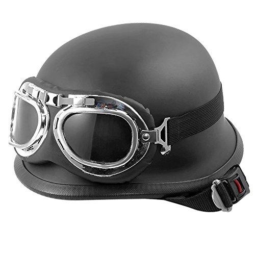 KKmoon Casco para Motocicleta Motocross con Gafas Anteojos Protección Unisex 55-60cm Ajustable Color Negro