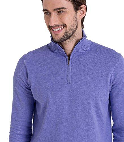 Wool Overs Pull camionneur homme en cachemire et coton Alpine Blue