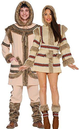 Paar Damen und Herren Eskimo Polar Explorer Nordpol Nationalkostüm aus aller Welt Kostüm Verkleidung Outfit - UK 20-22 - Mens Large (Kostüme Aus Aller Welt)
