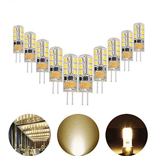 (AveyLum 2.5W G4 LED Lampen Warmweiß, Ersatz für 20W Halogenlampen, 180lm, 3000K, 2835 SMD Kieselgel LED Dekorative Kronleuchter Beleuchtung, LED Birnen, LED Leuchtmittel, AC/DC 12V, 10er Pack)