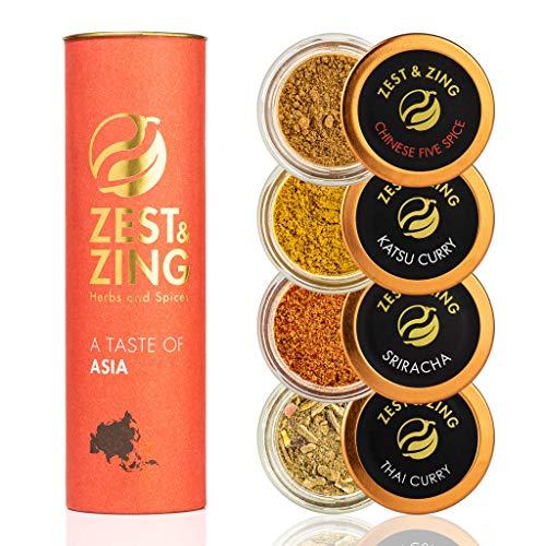 Gourmet Asia (Curry Tailandese Thai, Zenzero, Cinque spezie cinesi, Curry Giapponese Katsu): Zest & Zing Premium Set Regalo Spezie