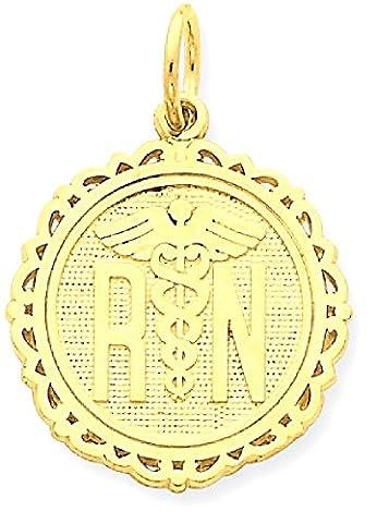 IceCarats 14k Yellow Gold Caduceus Angel Nursing Rn Registered Nurse Disc Pendant Charm Necklace Career Professional