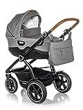 Jedo Trim System Kinderwagen Baby, Autositz Kinderwagen System 2 in1 + Zubehor (2W1 (Babywanne + Sportsitz), M6)